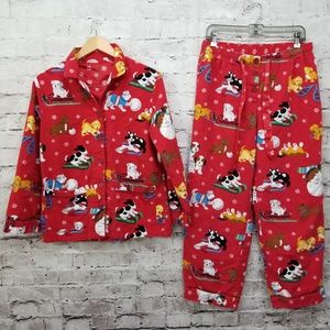 Nick & Nora Womens M Christmas Puppy Dogs Pj Set
